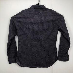 John Varvatos Check Button Down Shirt Purple M